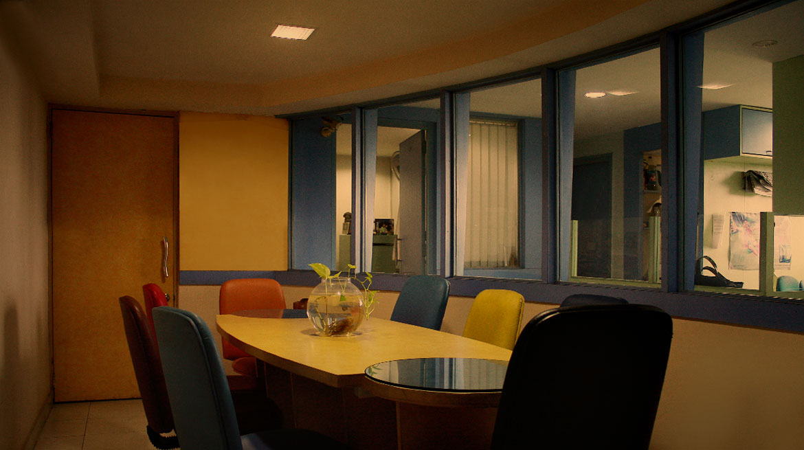 Conference room with table and chair