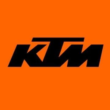 Orange background with KTM written in capital letters